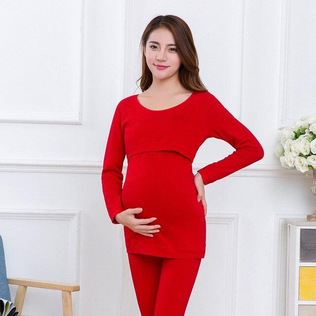 Pregnant women suits warm underwear thickening plus velvet pregnant women breastfeeding pajamas home clothing