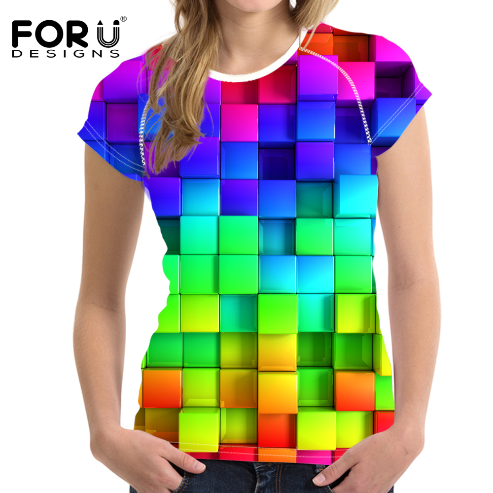 FORUDESIGNS Bright Mixed Color T Shirt for Women Stylish Lady Clothes Fashion Tops Tees Blusa Female O Neck T-shirt Girls Plus