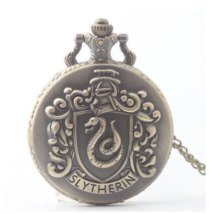 Antique Retro Slytherin Snake Pattern Quartz Pocket Watch Harry School Design Fob Clock Men Women Gifts With Necklace Chain 20pc