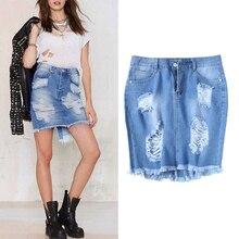купить KLV Fashion Women's Retro Denim High-Waist Ripped Holes Skirt Irregular Hem with Tassel Split Dark Blue Zipper Button Summer онлайн