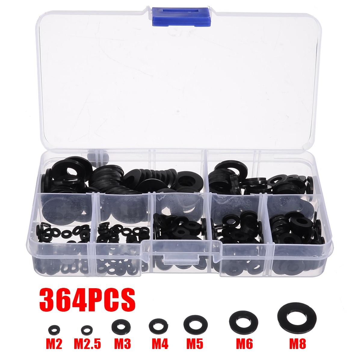Set Of 364Pcs Black Nylon Flat Ring Plain Repair Washer Gasket For Metric M2-M8