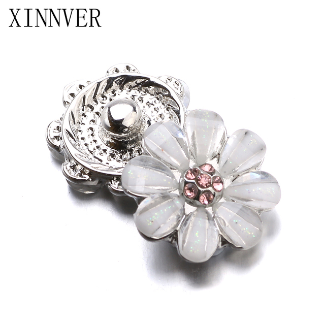 10pcs/lot Xinnver Snap Jewelry Crystal Flower Metal 12MM Snap Buttons Fit DIY OE
