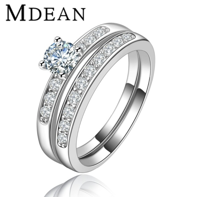 MDEAN White Gold Plated Rings for women wedding rings engagement CZ diamond jewelry bijoux ring vintage bague Accessories MSR124