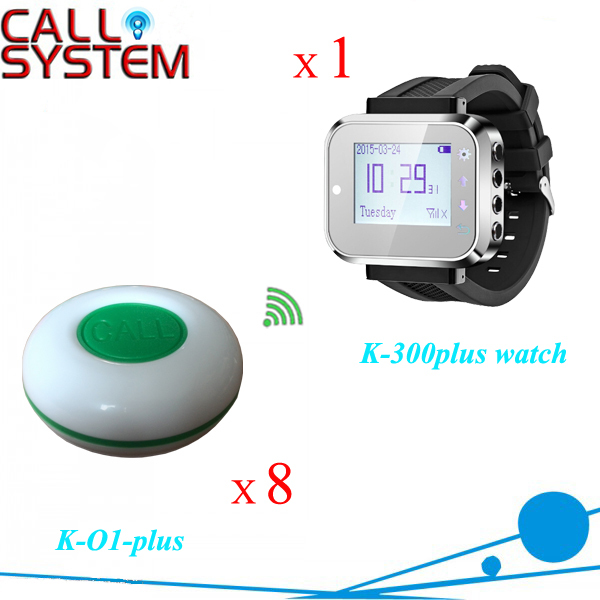 1 wrist receiver for waitress with 8 bell buzzer for guest use Smart watch paging system service call bell pager system 4pcs of wrist watch receiver and 20pcs table buzzer button with single key