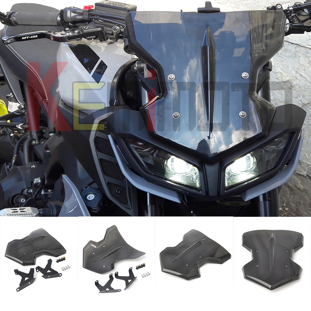 KEMiMOTO For YAMAHA MT 09 MT09 MT-09 FZ-09 Motorcycle Accessories 2017 Windshield WindScreen FZ09 parabrisas