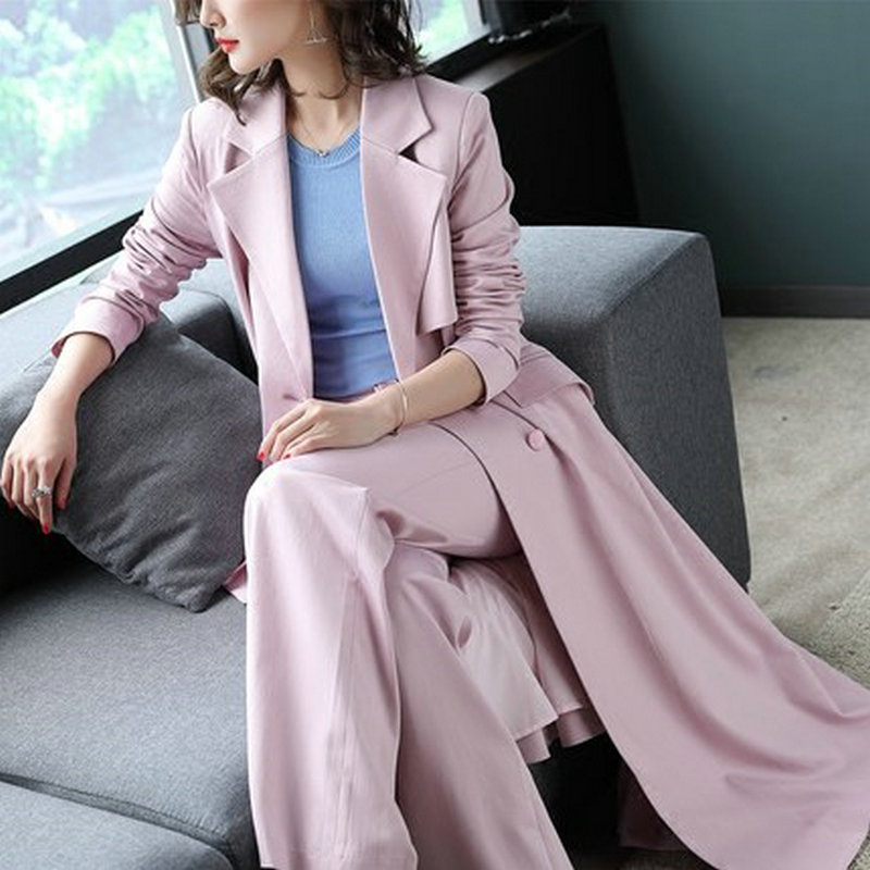 2018 Spring Women's New Fashion Two Piece Set Office Lady Pink Long Trench Coat and Wide Leg Pants Suit