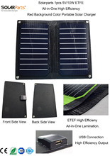 Solarparts 1x 5V/10W Black color ETFE lamianted all-in-one high efficiency portable solar charger 12V solar panel cell flexible