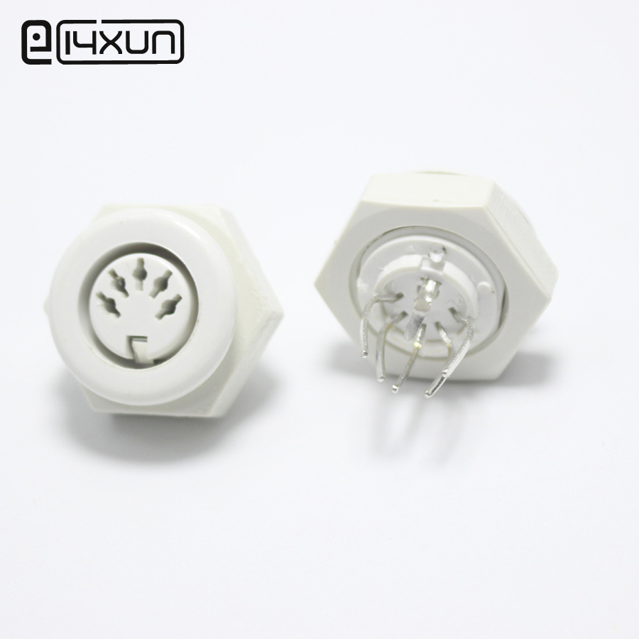 1pcs DIN 5 Pin Female Jack Cable Plug Adapter Panel Mount Solder Chassis Connector Nickel Plated White Grey Black