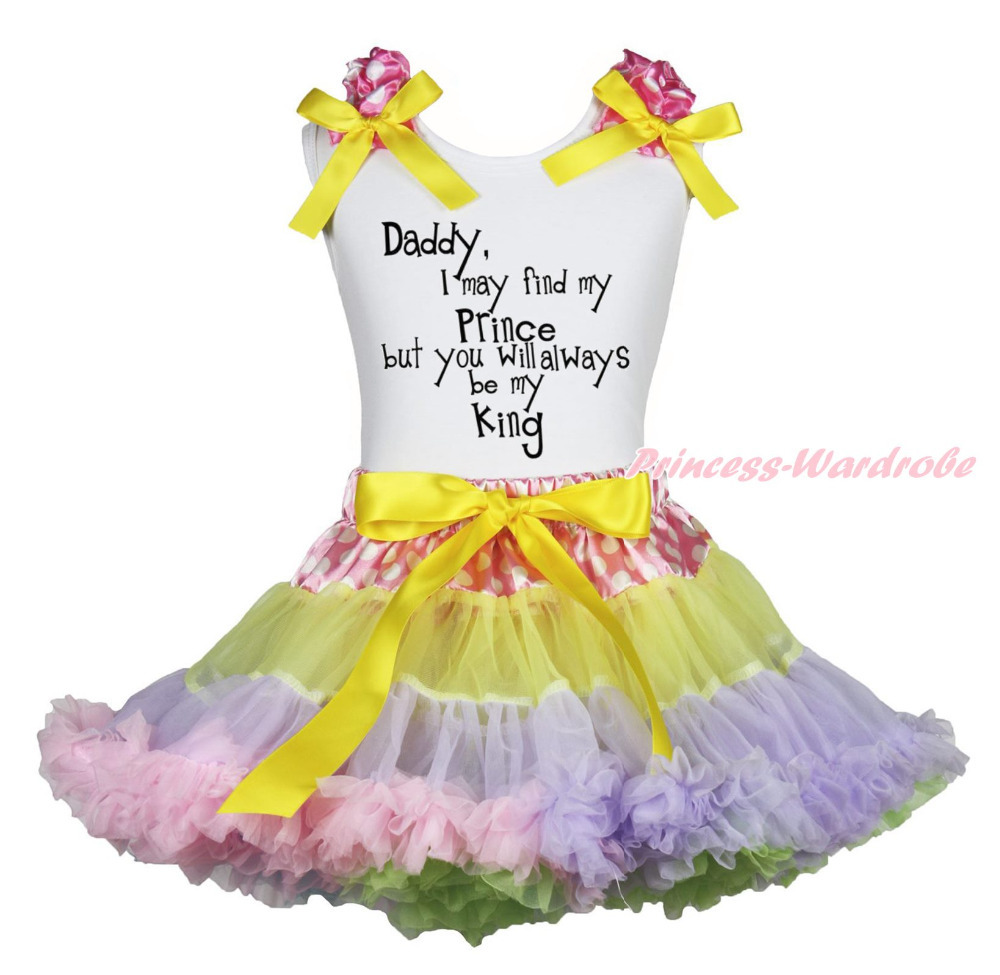 цена на Father Day Daddy always be my King White Top Dot Waist Rainbow Girls Skirt 1-8Y MAPSA0843