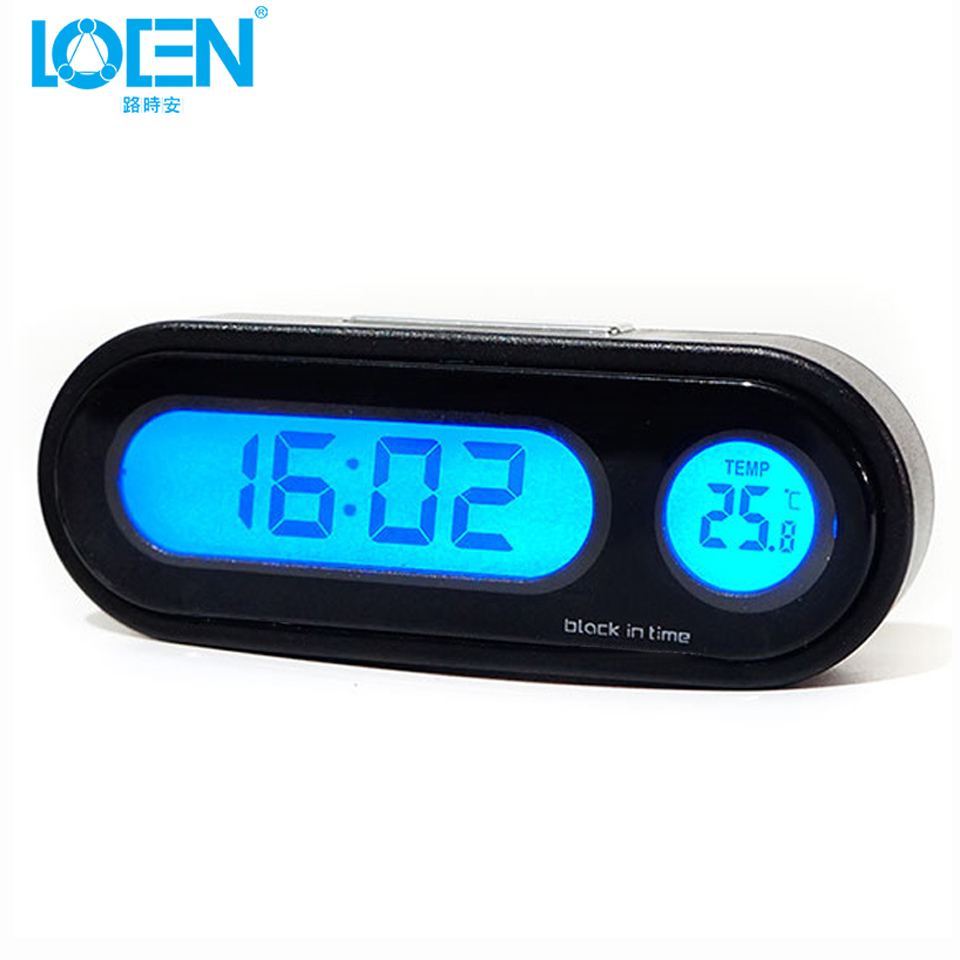LOEN Auto Digital Clock Automobile Watch Automotive Car Thermometer Hygrometer Decoration Ornament Mini Clock In Car-Styling mini car automobile digital clock auto watch automotive thermometer hygrometer decoration ornament clock in car accessories