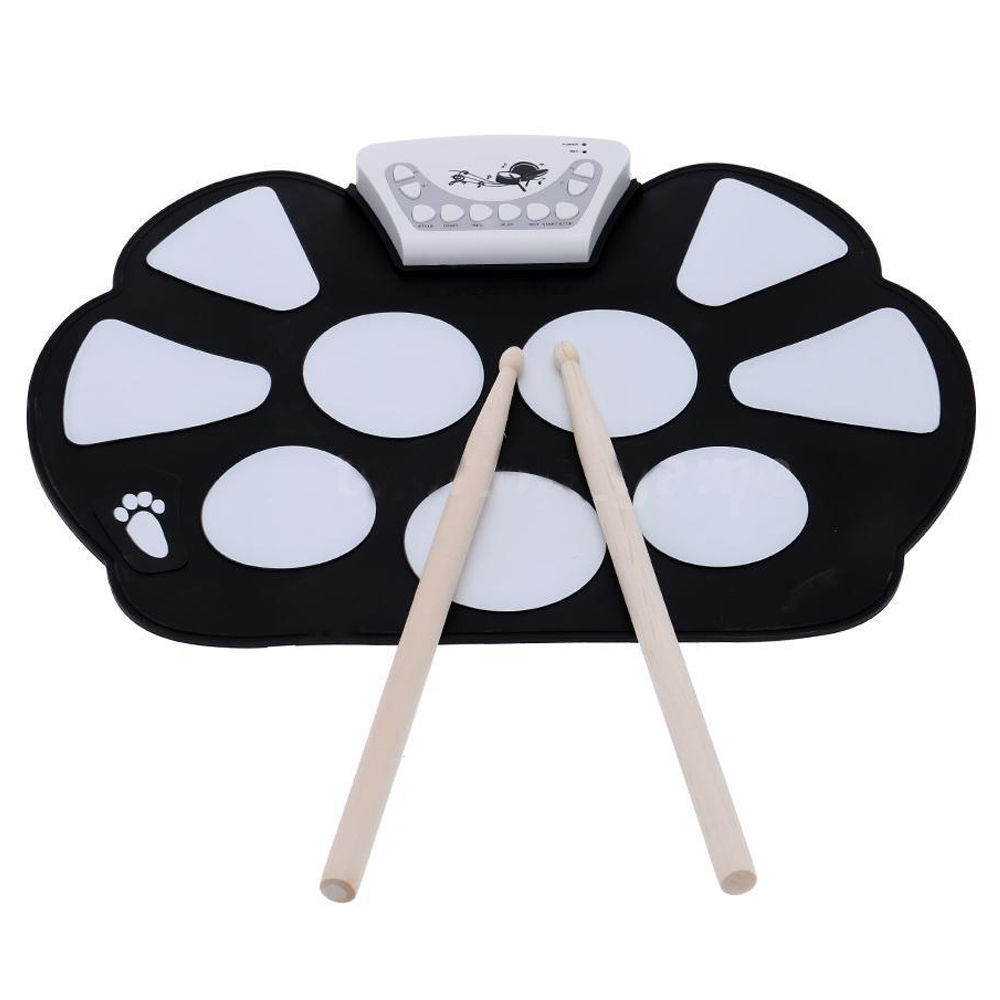 2X Electronic Roll up Drum Pad Kit Silicon Foldable with Stick NEW Professional2X Electronic Roll up Drum Pad Kit Silicon Foldable with Stick NEW Professional