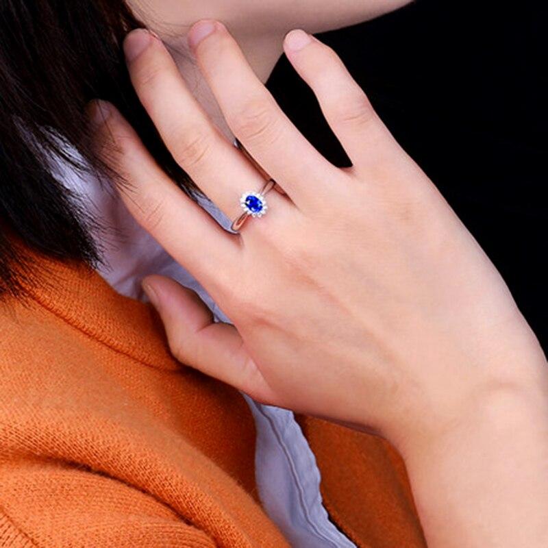 Genuíno 0.5ct aaa anel de safira natural 0.16ctw verdadeiro diamante 14kt ouro branco design simples para a menina aniversário jóias por atacado - 6
