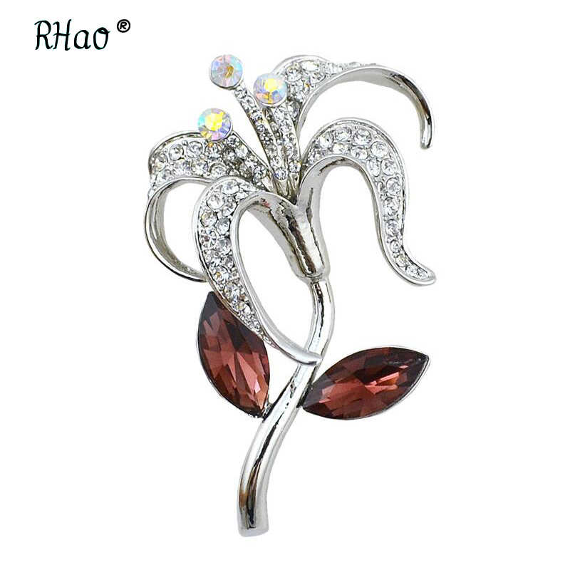 ... RHao Women Scarf Clips Silver-color Crystal Flower Brooches pins for  women grils Romantic hijab 5a5d647d9b7d