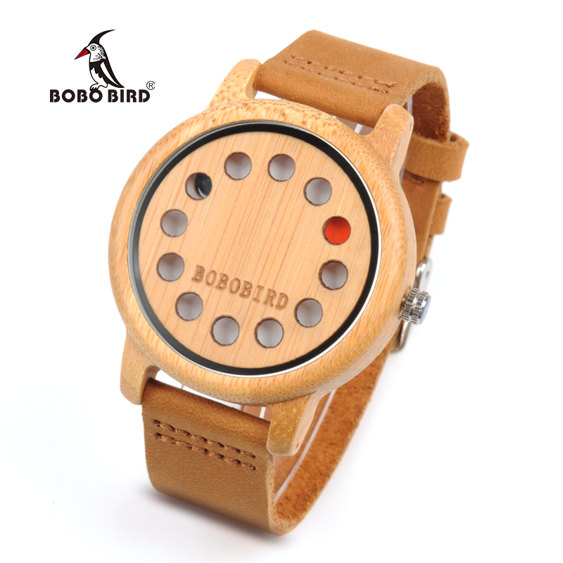 BOBO BIRD WA26 Bamboo Quartz Watch For Women Men 12 holes Creative Design Dial Face With