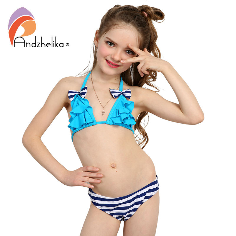 Andzhelika 2018 New Bikinis Set Children's Swimsuit Cute Bow Solid striped Bottom Girls Swimwear Swimming Suit 10-16 year old