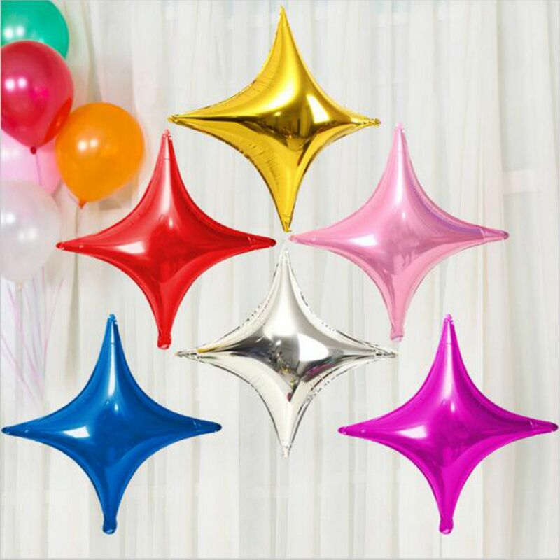 10stk Engros 10 tommer Flerfarvet Fire hjørner Stjernfolie Balloner Baby Fødselsdag Bryllupsdekoration Oppustelig stjerne Luft Globos