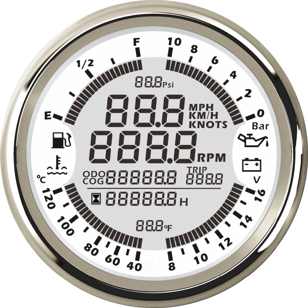 New 6 in 1 Multi functional Gauge Meter GPS Speedometer Tachometer Hour Water Temp Fuel Level