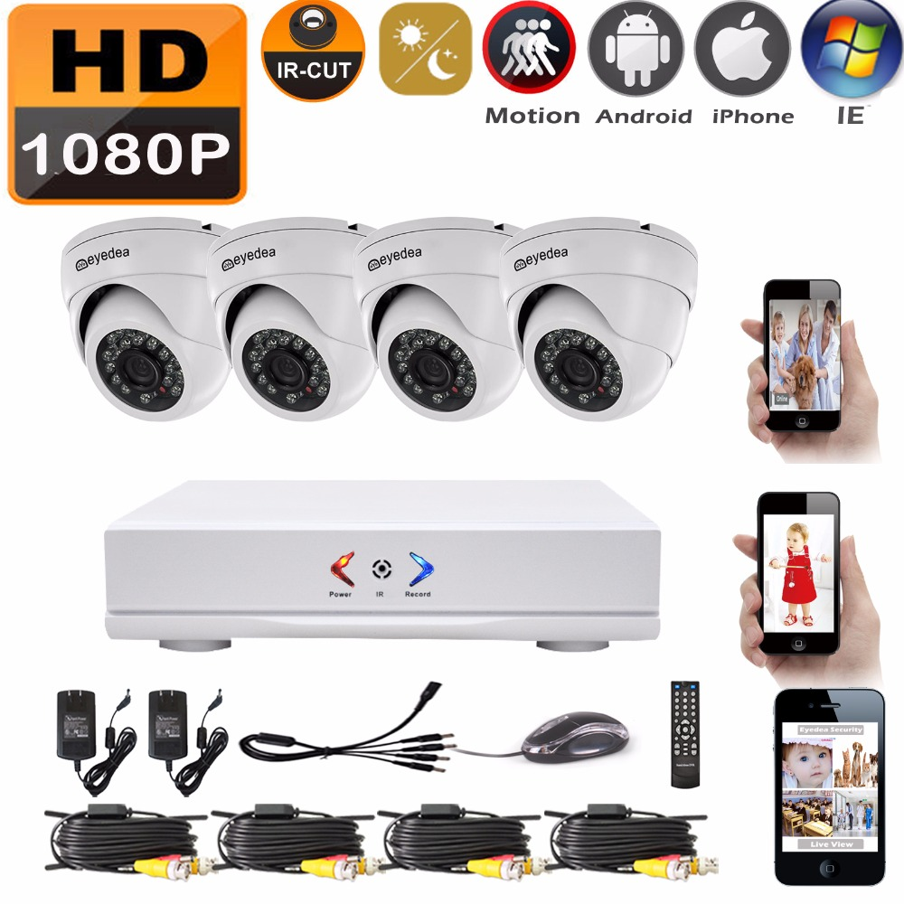Eyedea 4 CH HDMI DVR Recorder HD 1080P 2.0MP 5500TVL CMOS Dome Night Vision Outdoor Waterproof Home CCTV Security Camera System eyedea 16ch video dvr recorder hd 1080p bullet black outdoor cmos night vision business cctv security camera surveillance system