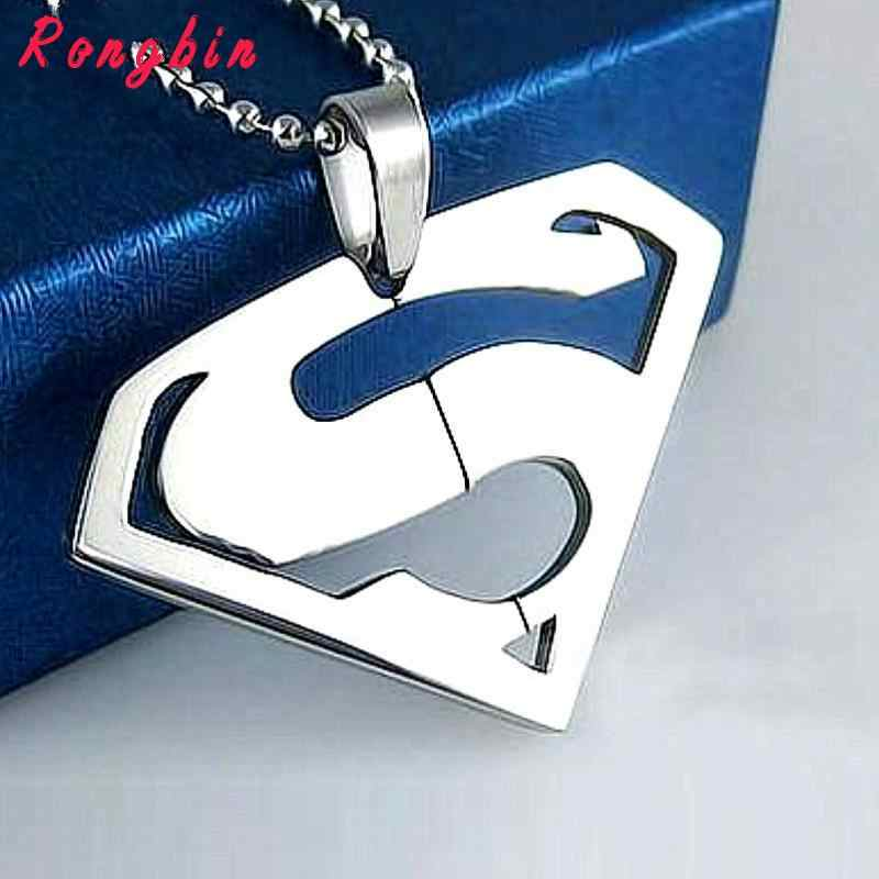 New Fashion Necklace Stainless Steel Superman Pendant Necklace For Men Women Jewelry Best Friends Vintage Punk Necklace Mens