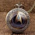 2016 Hot New Style Star Trek Tema Relógio de Bolso Com colar FOB Cadeia Moda Logotipo Do Comando Da Frota Estelar Quartzo Relógio de Bolso presentes