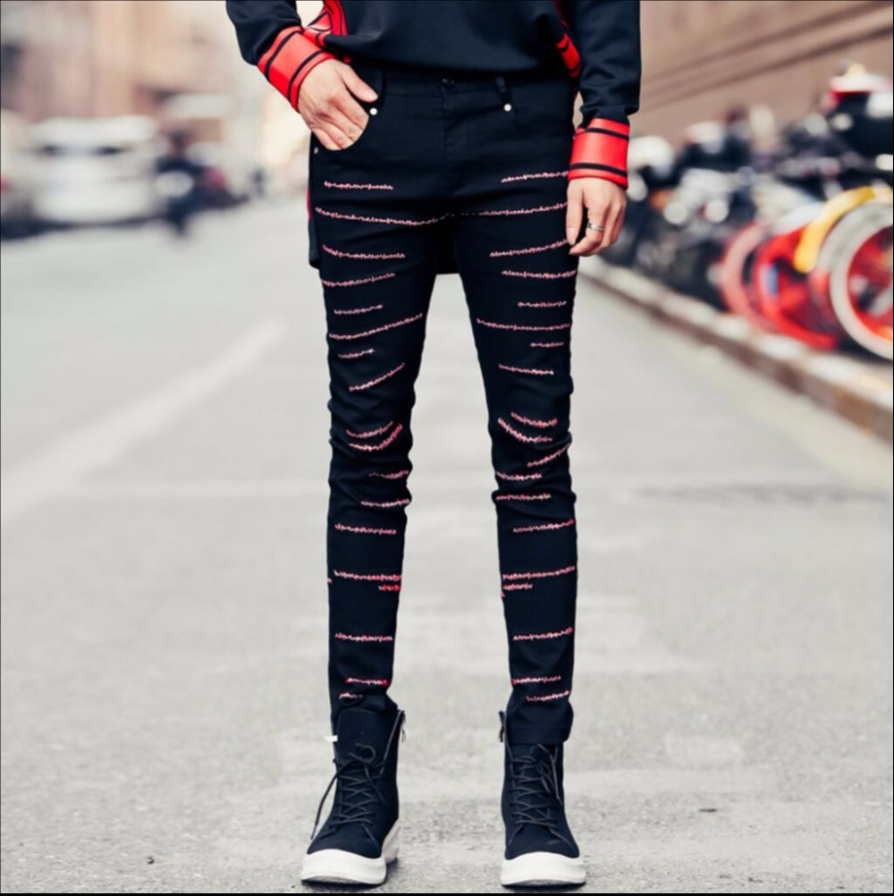 2018 NEW spring Mens slim jeans skinny pants decorative pattern embroidery black trousers hairstylist nightclub singer costumes