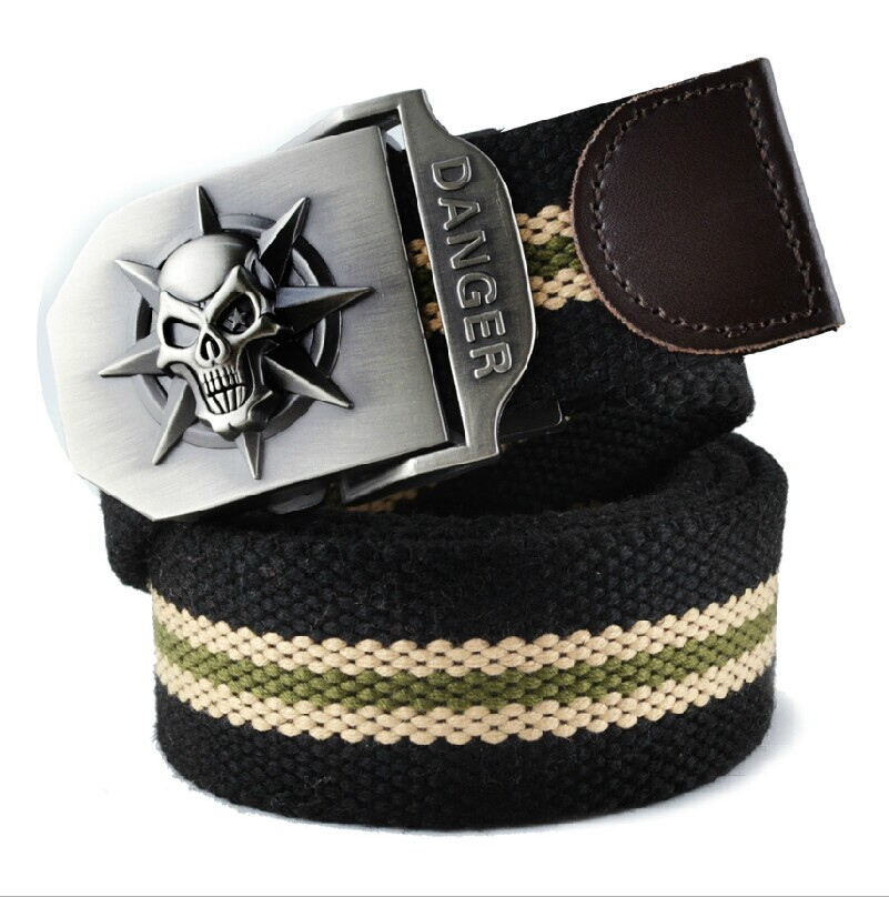 2017 Mens fashion casual canvas belt luxury military jeans skulls pattern pop belts for men Army Green black stripes110 120cm