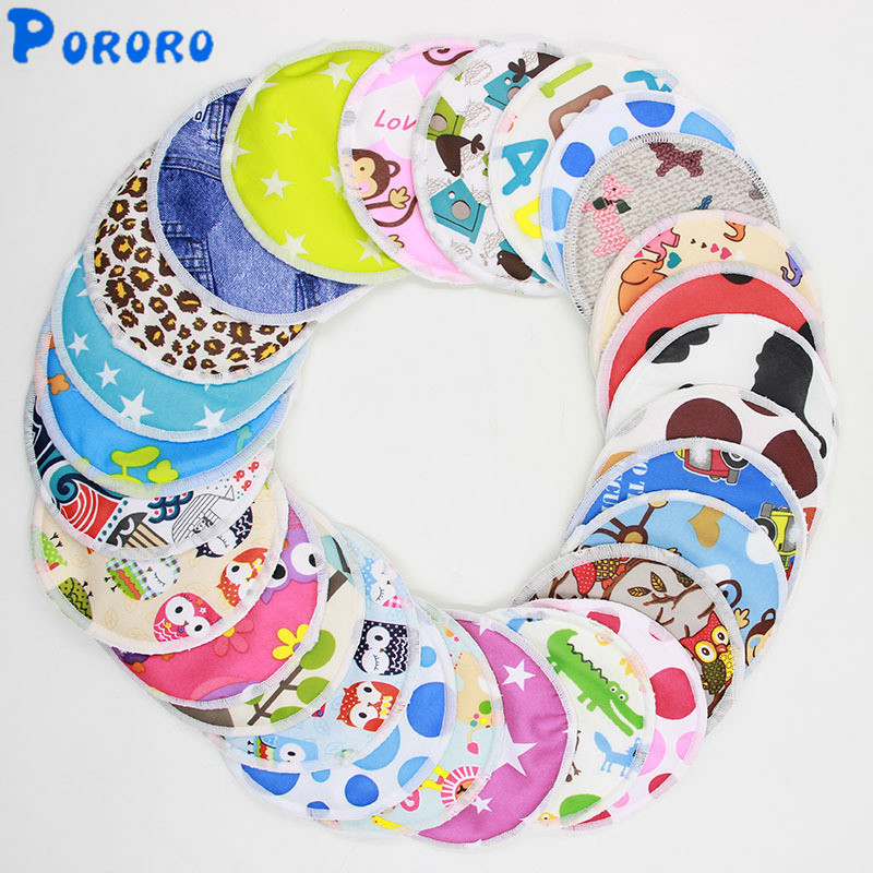 10Pairs/lot Pregnant Women Washable Bamboo Breast Pad Nursing Pads Cartoon Print Reusable Lady Breastfeeding Color Random