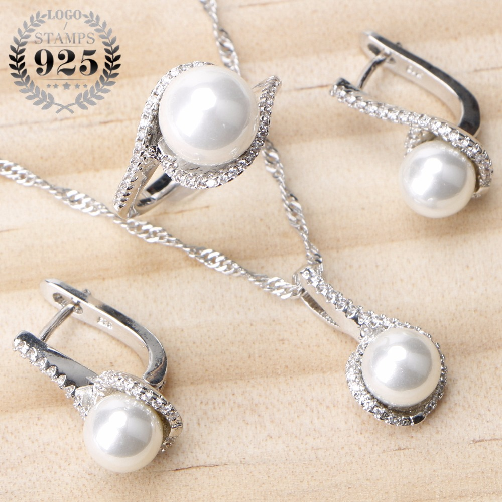 Jewelry-Sets Ring Pendant Pearl-Zircon-Clips Bridal-Pearls 925-Sterling-Silver Women
