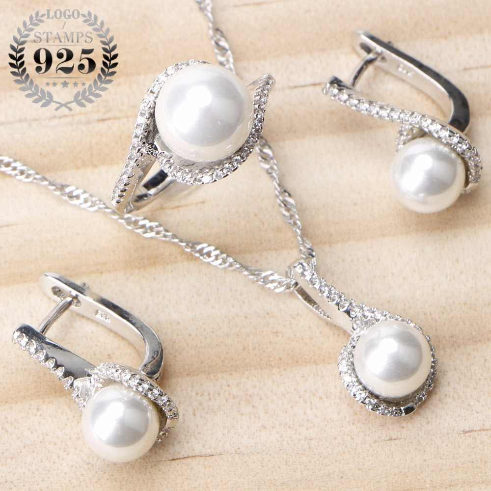 925 Sterling Silver Bridal Pearls Jewelry Sets Women Wedding Jewelry With Pearl Zircon Clips Earrings Ring Pendant Necklace Set