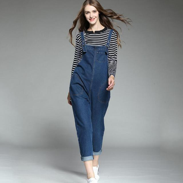 6a420c3223a 2018 New Plus Size Denim Overalls Jumpsuits High Quality Women Fashion  Jumpsuits Casual Suspenders Loose Literary