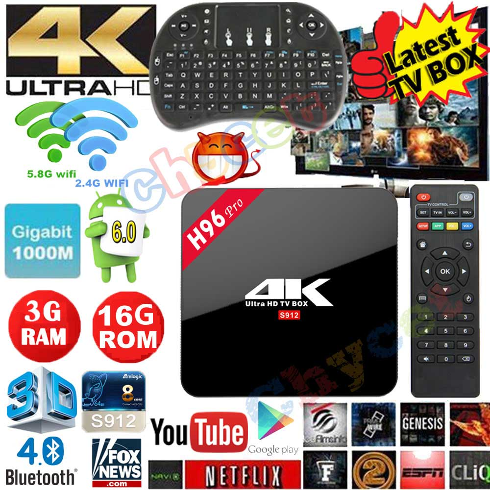 Prix pour H96 Pro Android 6.0 TV Box S912 Octa Core 2G 3G RAM 16G ROM Bluetooth 4.0 Double Wifi Gigabit Ethernet 1000 M 4 K 3D Smart TV box