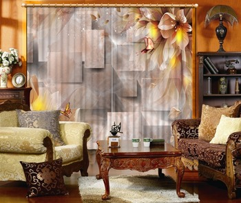 Polyester 3D Living Room Curtains creative marble square flower Blackout Curtains Photo 3D Curtains