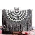 Borla Strass Novas Mulheres Sacos de Noite de Diamantes de Casamento Frisado Senhora Bolsas de Metal Pequena Bolsa Saco Do Mensageiro da Noite