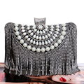 Tassel Rhinestones New Women Evening Bags Diamonds Beaded Wedding Lady Handbags Metal Small Purse Messenger Evening Bag