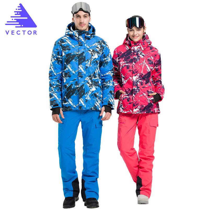 ناقلات المهنية الرجال النساء التزلج الدعاوى جاكيتات + السراويل الشتاء الدافئ مقاوم للماء التزلج على الجليد الملابس مجموعة العلامة التجارية