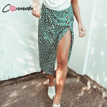 Conmoto High Waist Split Midi Skirts Women Button Green Leopard Dot Print Casual