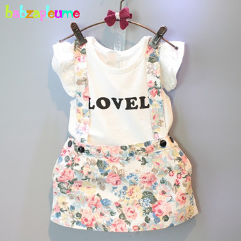 Marca de verano, ropa para niños y niñas, camiseta + falda con tirantes, traje de bebé de dos piezas, conjunto de ropa de manga corta para niños de 0 a 7 años, BC1050