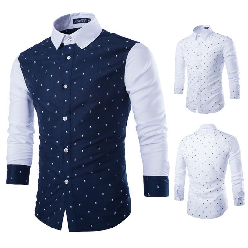 2015 casual men shirt brand men 39 s fashion skull slim fit for Stylish dress shirts for men