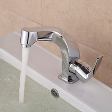 Free Shipping Chromed Hot and Cold Water Bathroom Mixer Faucet Single Handle Hole Deck Mounted Washbasin
