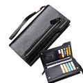 Hot New Brand Design zipper Moda negro cuero genuino de los hombres carteras largo marrón casual monedero de la cartera hombre carteira masculina