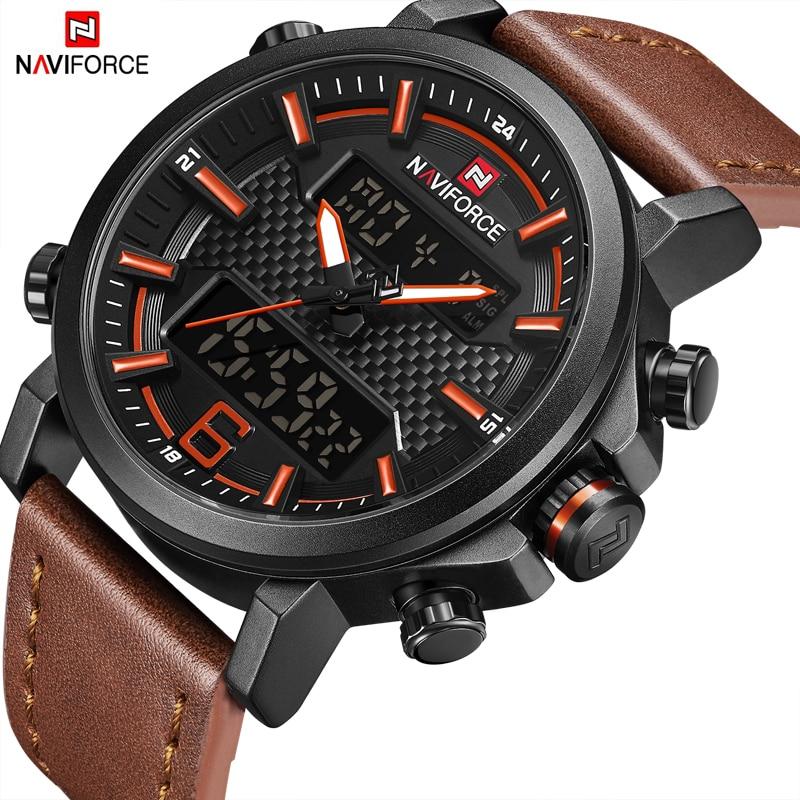 где купить 2018 New Top Luxury Brand NAVIFORCE Leather Strap Sports Watches Men Quartz Clock Sports Military Wrist Watch Relogio masculino по лучшей цене