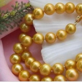 """GORGEOUS 8-9 MM NATURAL PEARL NECKLACE 18"""" 36"""" Yellow clasp"""