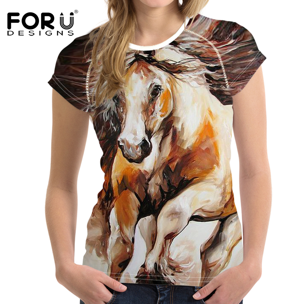 76337912 FORUDESIGNS 3D Crazy Horse Zebra T Shirt Women Stylish Brand Lady Clothes  Casual Tops Tees Blusa Female O Neck T-shirt for girls