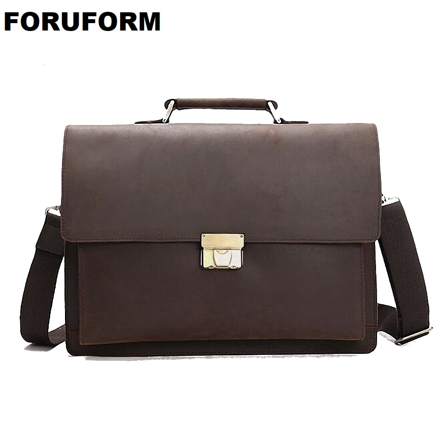 Top Grade Male Men's Vintage Real Crazy Horse Leather Briefcase Messenger Shoulder Portfolio 14'' Laptop Bag Case Handbag LI2033
