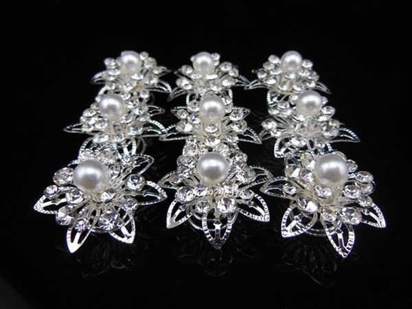 100 Pcs White Pearl Crystal Wedding Bride Prom Hair Twists Spins Pins Hair Clip F3 //FREE SHIPPING