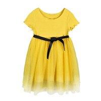 4 a 16 anni i bambini e adolescente grandi ragazze giallo cotone tulle principessa abiti da festa per bambini di estate di modo del vestito convenzionale vestiti