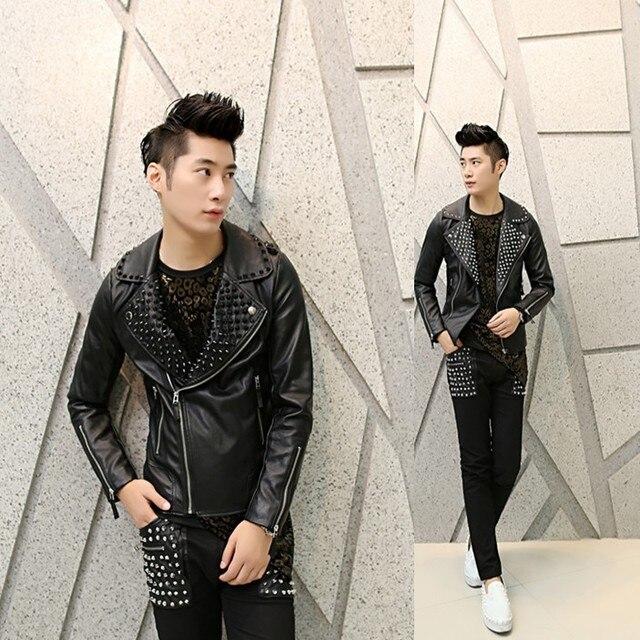 Кожаная куртка мужчины Корейской Тонкий случайные куртки личности прилив ночной клуб костюмы заклепки панк мужские кожаные куртки и пальто