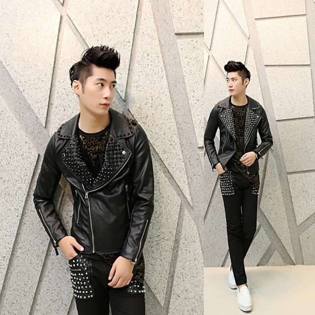 leather jacket men Korean Slim casual jacket personality tide nightclub costumes rivet punk mens leather jackets and coats