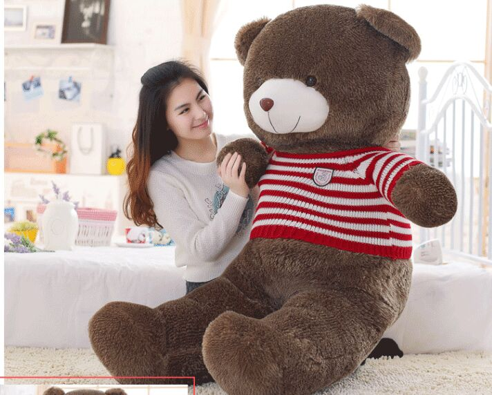 stuffed fillings toy large 160cm red stripes sweater brown teddy bear soft doll hugging pillow birthday gift s2462 stuffed animal dark brown teddy bear doll 90cm sweater stripes flag wind bear plush toy gift w2734