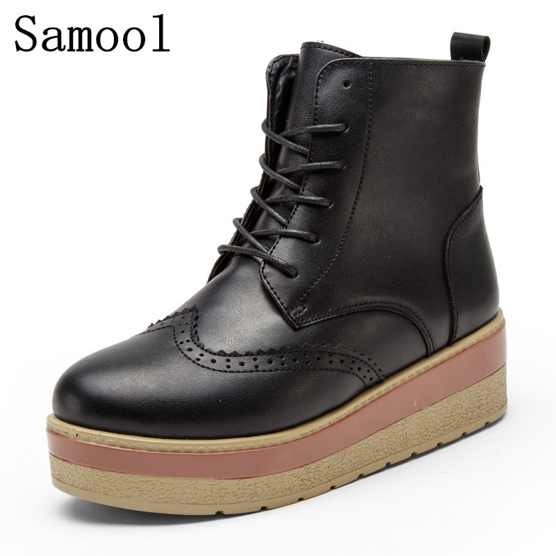 2017 Classic Women Winter Boots Genuine Leather Ankle Snow Boots Female Warm Short Plush Insole High Quality Botas Mujer Lace-Up sexemara brand 2016 new collection winter boots for women snow boots genuine leather ankle boots top quality plush botas mujer